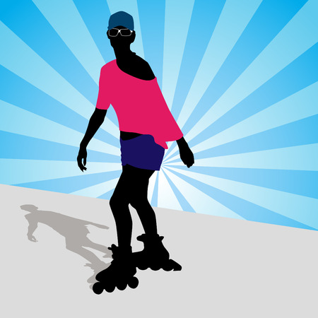 An image of a woman exercising on her rollerblades. Vector