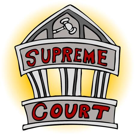 Een afbeelding van het supreme court-gebouw.