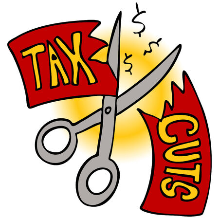 An image of a scissors cutting a tax cut paper. Illustration