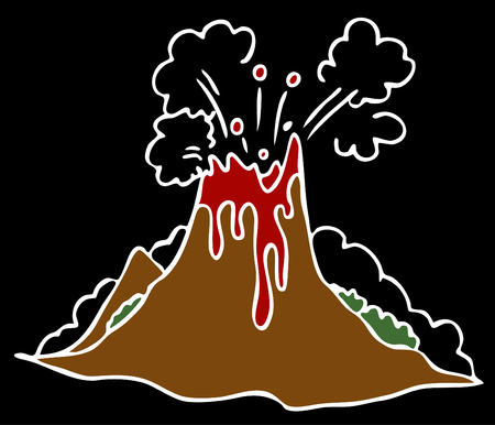 An image of a exploding volcano on a black background. Vector