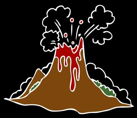 ausbrechen: Ein Bild des explodierenden Vulkanes auf einem schwarzen Hintergrund.