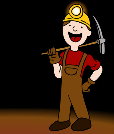An image of a miner with axe and helmet. Vector