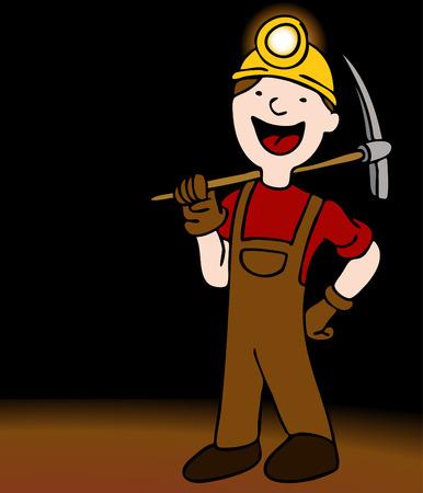 Een afbeelding van een mijnwerker met axe en helm.