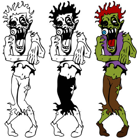 An image of a set of zombie creatures in color plus black and white. Vector