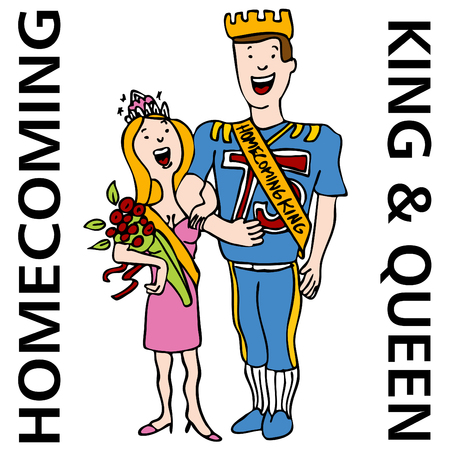 homecoming: An image of the homecoming king and queen. Illustration