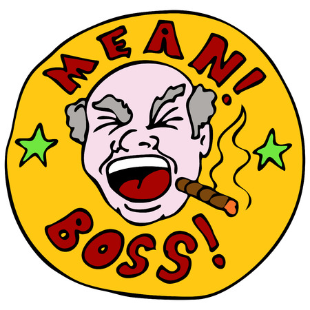 cigar cartoon: An image of a screaming mean boss. Illustration