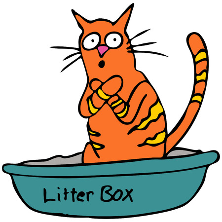 bathroom cartoon: An image of a cat embarassed using the litterbox.