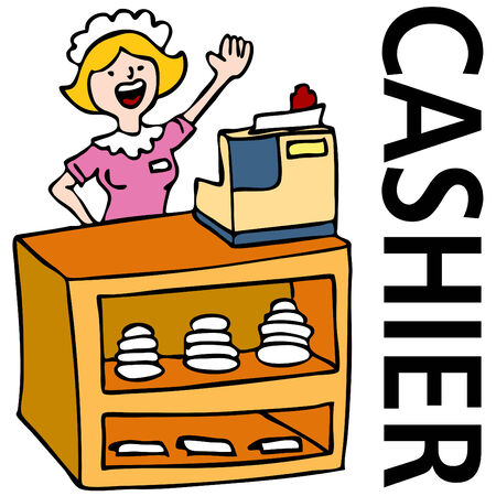An image of a waitress working at the cashier counter.  Ilustração