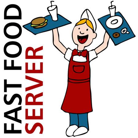 Una imagen de un trabajador de servidor de comida r�pida celebraci�n de bandejas de comida. Foto de archivo - 8199335