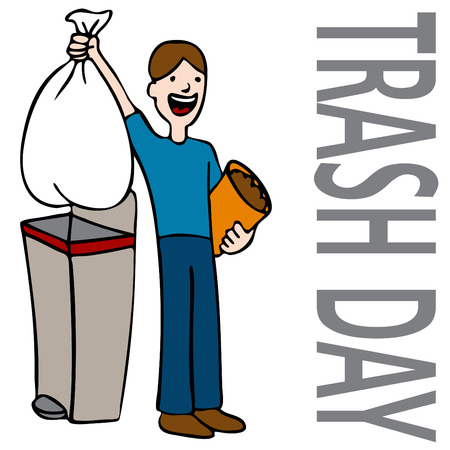 trashcan: An image of a person taking out trash.
