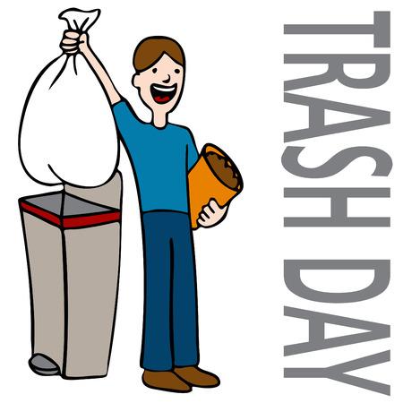 Ein Bild einer Person, die nehmend raus Trash. Vektorgrafik