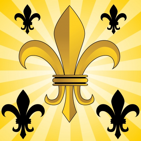 An image of a glowing gold fleur de lis symbol. Vector