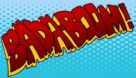 Een afbeelding van een explosie geluidseffect comic book. Stock Illustratie