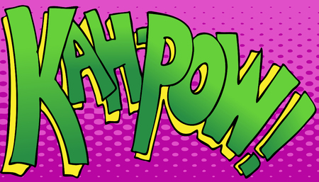 pow: An image of a the word kahpow in a comic book style.  Illustration