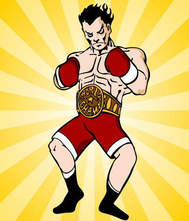 An image of a boxer with championship belt. Vector