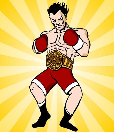 Una imagen de un boxeador con cintur�n de campe�n. Foto de archivo - 8278079