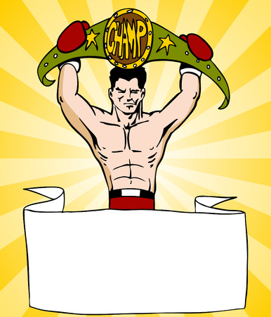 An image of a banner with a boxer fighter holding a championship belt. Vector