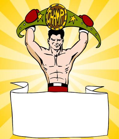 L'immagine di un banner con un combattente pugile in possesso di un nastro campionato. Archivio Fotografico - 8278080
