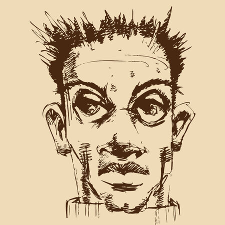 An image of face of a young man. Ilustracja