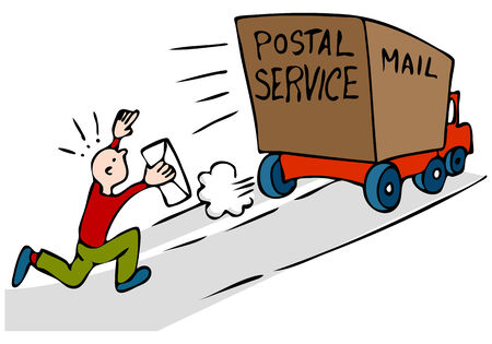 An image of a man chasing mail truck with urgent mail.  Illustration