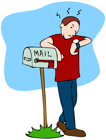 postbox: An image of a man waiting for the mailman to bring the mail.