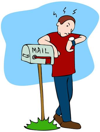 Una imagen de un hombre esperando el mailman llevar el correo. Ilustración de vector
