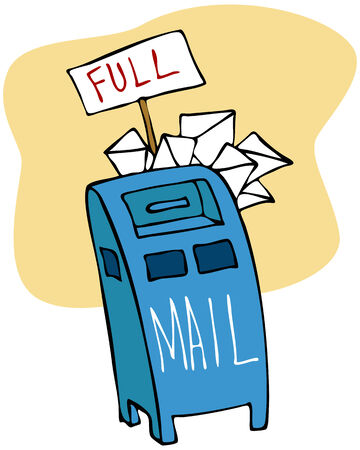 An image of a mailbox full of mail. Vector