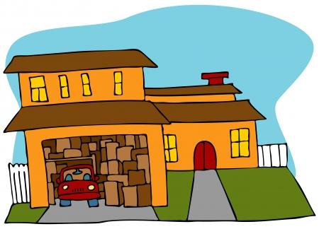 home moving: Una imagen de un garaje lleno con cuadros y un coche. Vectores