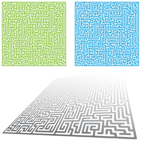 An image of a set of maze game puzzles. Vector