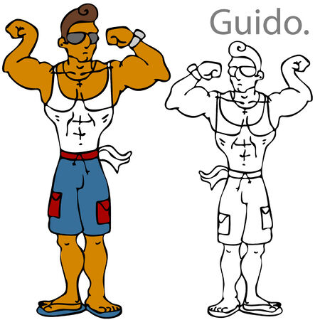 An image of a muscular man flexing his muscles. Vector