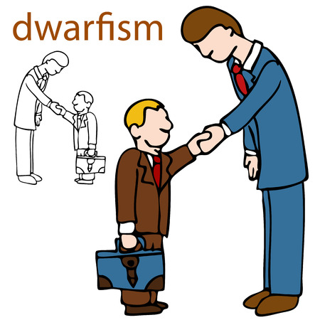 An image of a little person shaking hands with a taller man. 版權商用圖片 - 8512580