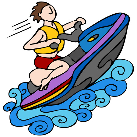 An image of a man riding a jet ski.