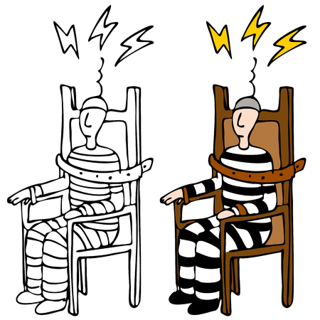 row: An image of a man in an electric chair.