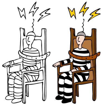 Een beeld van een man in een elektrische stoel.