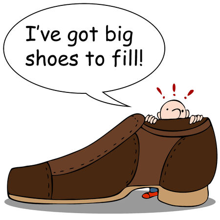 got: An image of a man looking at giant shoe.