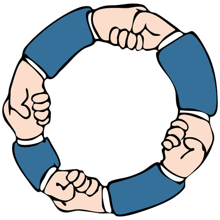 An image of a circular set of hands shaking.
