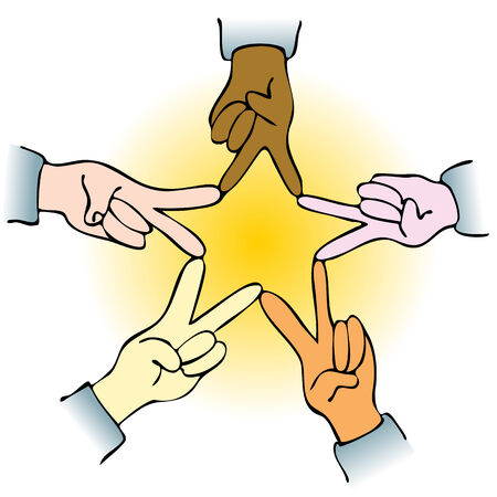 An image of people makng hand gesture forming a star. Ilustracja