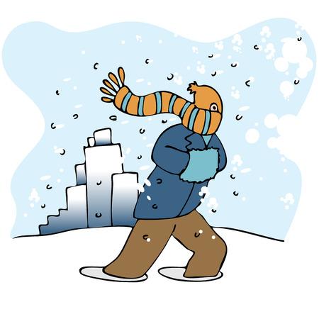 猛吹雪の中を歩く男のイメージ。  イラスト・ベクター素材