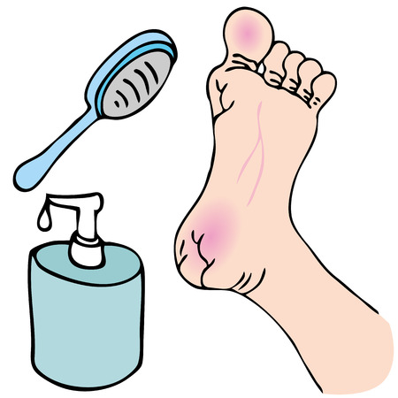 An image of a dry foot with foot spa treatment. Ilustração