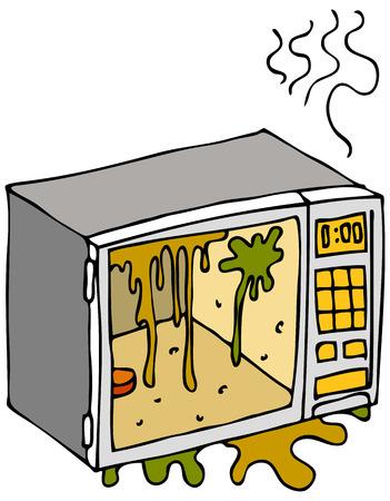 Una imagen de un horno de microondas sucio. Ilustración de vector