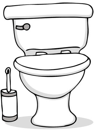화장실 및 청소 브러쉬의 이미지.