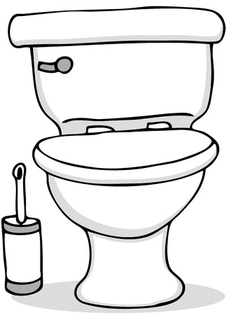 An image of a toilet and cleaning brush. Vector