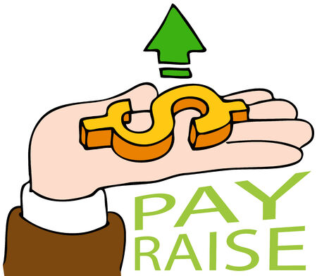 pay raise: An image of a pay raise business hand.