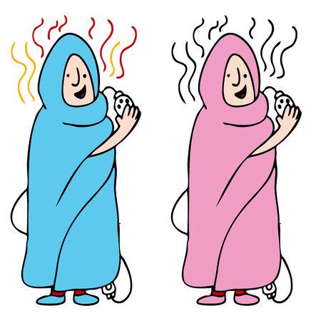 Een beeld van een man en vrouw met behulp van een elektrische deken. Vector Illustratie