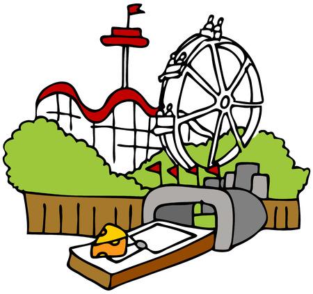 TRAP: An image of a moustrap amusement park tourist trap. Illustration