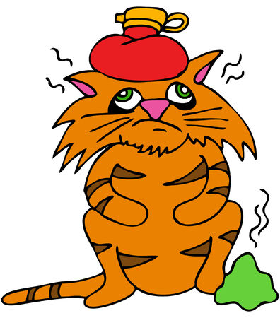 An image of a sick cat with headache and upset stomach. Illustration