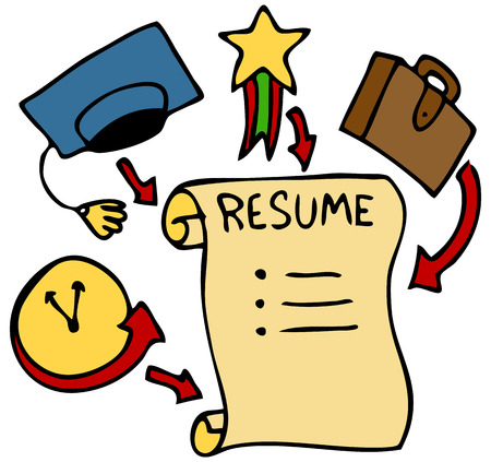 work experience: An image of a resume history, education, awards, and experience. Illustration