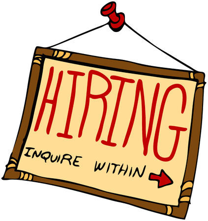 help wanted: An image of a hiring sign inquire within. Illustration