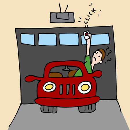 An image of a man trying to open garage door. 일러스트