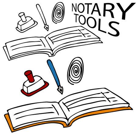 Een afbeelding van een notaris boek, stempel, pen en vinger afdruk. Vector Illustratie